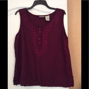 Burgundy embroidered women top Size Large